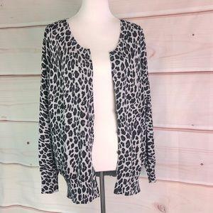 Lane Bryant Grey Black Leopard Button Up Cardigan